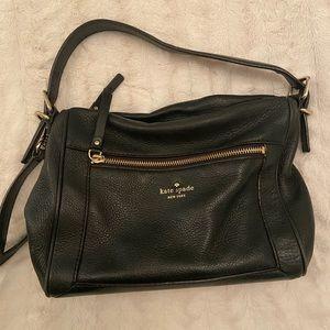 Kate Spade-black leather crossbody bag